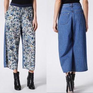 Diesel De Viola Floral and Jeans Wide Leg Pants